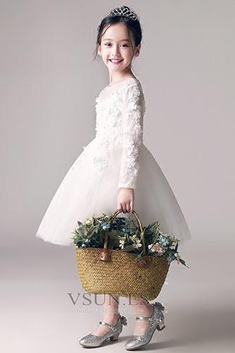 Vestido niña ceremonia Joya Encaje Capa de encaje Cremallera Camiseta Hasta la Rodilla - Página 1