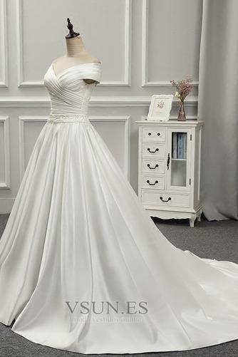 Vestido de novia Volantes Adorno Satén Iglesia Natural Tallas pequeñas - Página 6