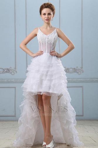 Vestido de novia Sin mangas Alto Bajo Escote de Tirantes Espaguetis - Página 1