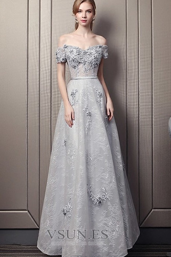 Vestido de noche Escote con Hombros caídos Natural Encaje Elegante Hasta el Tobillo - Página 3
