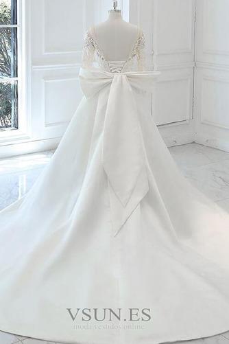 Vestido de novia Elegante Otoño Manga larga Apliques Barco Cordón - Página 4