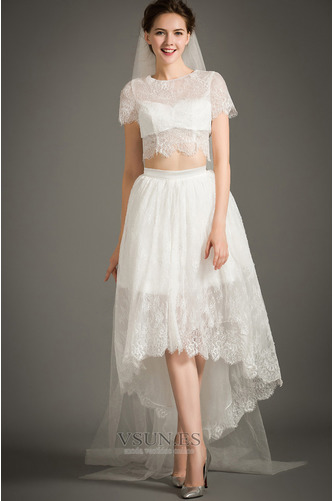 Vestido de novia Cremallera Moderno Asimétrico Dobladillo Camiseta Manga corta - Página 1