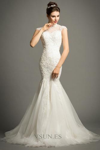 Vestido de novia Apliques Cola Corte Formal Cremallera Corpiño Acentuado con Perla - Página 1