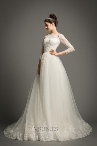 Vestido de novia Elegante Encaje Abalorio Pera Cremallera Corte-A - Página 4