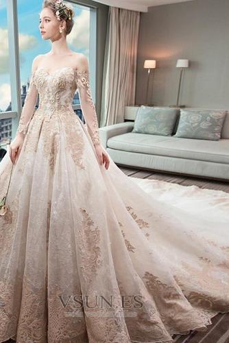 Vestido de novia Abalorio Tallas pequeñas Natural Escote con Hombros caídos - Página 1