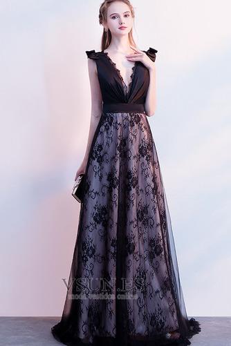 Vestido de fiesta Elegante Escote en V Sin mangas Capa de encaje Corte-A - Página 4