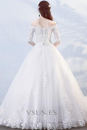 Vestido de novia Hasta el suelo Abalorio Otoño Formal Capa de encaje - Página 2
