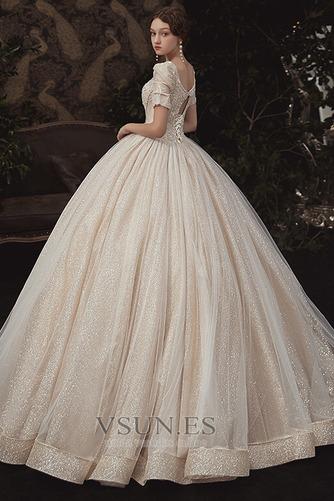 Vestido de novia Corpiño Acentuado con Perla Cordón Abalorio Camiseta - Página 2