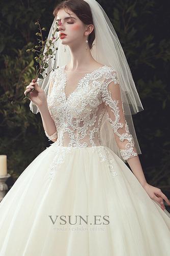 Vestido de novia Pura espalda Capa de encaje Cola Catedral Elegante - Página 6