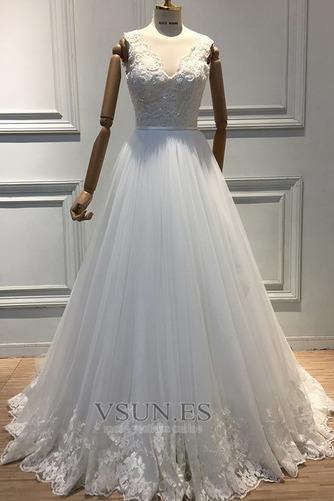 Vestido de novia Satén Apliques Natural Iglesia Cremallera Formal - Página 3