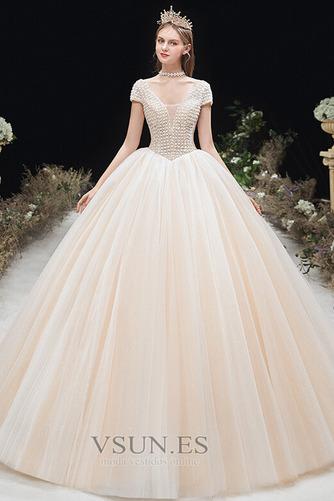 Vestido de novia Formal Cordón Corte-A Escote en V Capa Multi Cola Capilla - Página 1