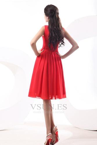 Vestido de dama de honor Volantes Adorno Escote en V Rojo Oscilación Hasta la Rodilla - Página 4