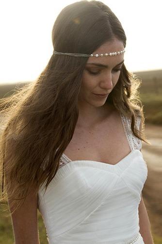 Vestido de novia Corte-A Apliques largo Natural Verano Playa - Página 3