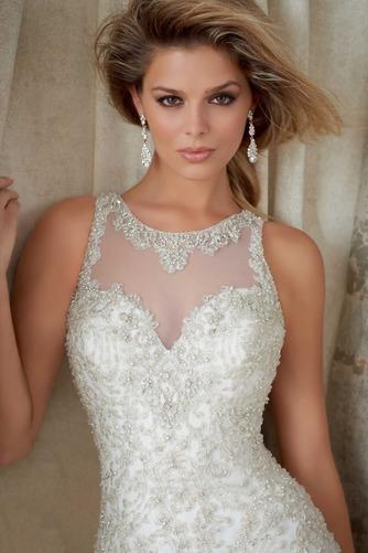 Vestido de novia Organza Pura espalda Sala Joya Abalorio Natural - Página 3