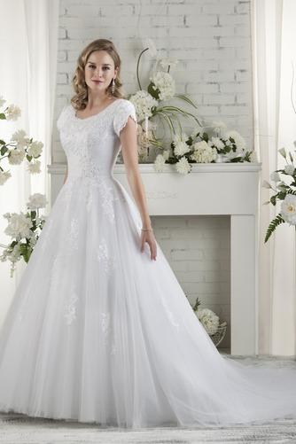 Vestido de novia Corte-A Escote redondo Camiseta Cola Capilla primavera - Página 1