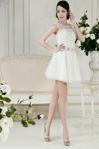 Vestido de novia Informal Natural Manga tapada Con velo Fuera de casa - Página 1