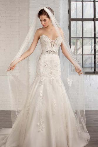 Vestido de novia tul Natural Apliques Espalda Descubierta Escote Corazón - Página 1
