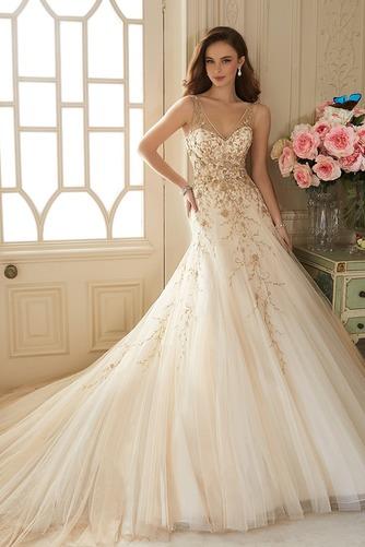 Vestido de novia Cremallera Otoño Sin mangas Natural Escote en V Apliques - Página 1