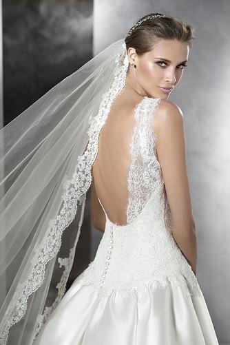 Vestido de novia Corte-A Sin mangas Natural Joya Sala Formal - Página 3