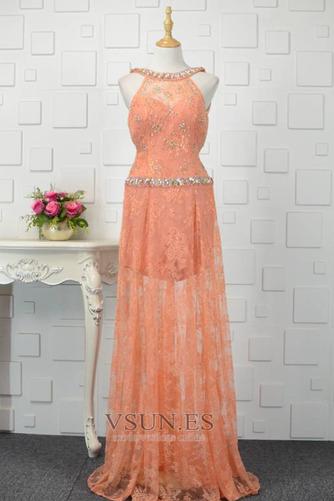 Vestido de fiesta Abalorio Corte-A Elegante Natural Encaje Rectángulo - Página 1