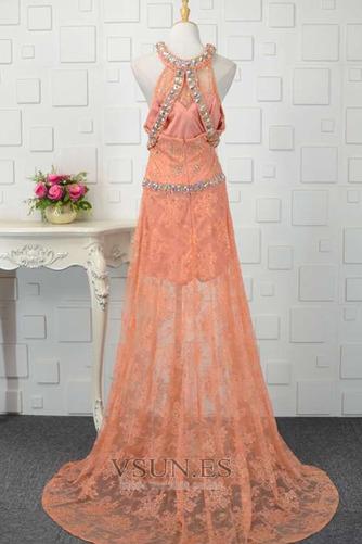 Vestido de fiesta Abalorio Corte-A Elegante Natural Encaje Rectángulo - Página 3