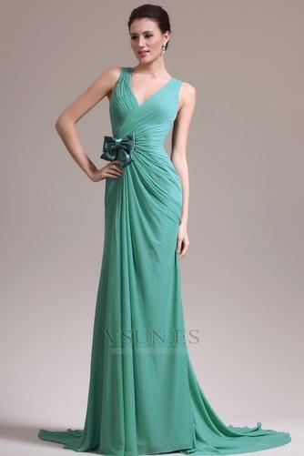 Vestido de noche Corte-A 2015 Drapeado Lateral Gasa Arco Acentuado Natural - Página 4