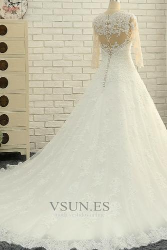 Vestido de novia Abalorio Corpiño Acentuado con Perla Pura espalda Natural - Página 4