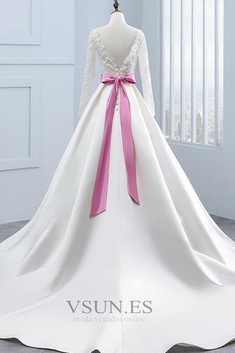 Vestido de novia Manga larga Mangas Illusion Satén Corte-A Cinturón de cuentas - Página 2