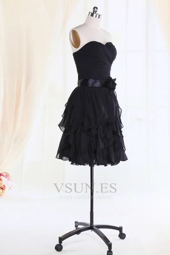 Vestido de dama de honor Gasa Flores gris oscuro Cremallera Escote Corazón Rectángulo - Página 2