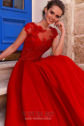 Vestido de fiesta Satén Natural Cola Barriba Joya Abalorio Corte-A - Página 3