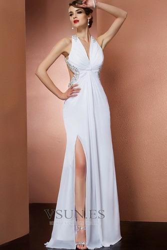 Vestido de fiesta Frontal Dividida Romántico Baja escote en V Gasa Escote halter - Página 1