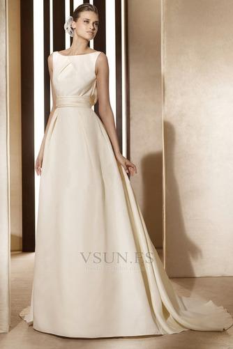 Vestido de novia vintage Diosa Barco Sin mangas Otoño Marfil - Página 1