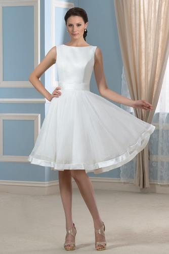 Vestido de novia Falta Hasta la Rodilla Moderno Natural Lazos Corte-A - Página 1