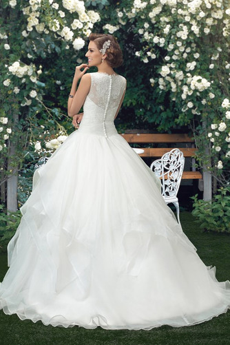 Vestido de novia Cola Capilla Cascada de volantes Organza Modesto Cremallera - Página 3
