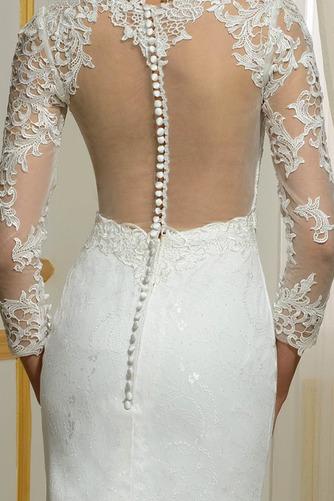 Vestido de novia Invierno Sin mangas Pura espalda Natural Capa de encaje - Página 5