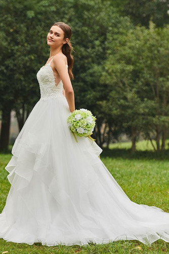 Vestido de novia Escote de Tirantes Espaguetis Natural tul Cola Capilla - Página 3