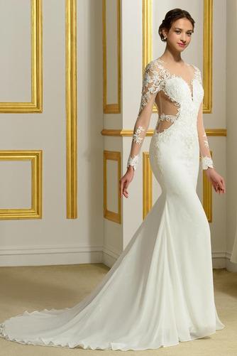 Vestido de novia Encaje Corte Recto Natural Espalda Descubierta Fuera de casa - Página 2
