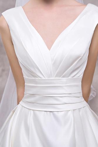 Vestido de novia Elegante Escote en V Dobladillos Corte-A largo Satén - Página 4
