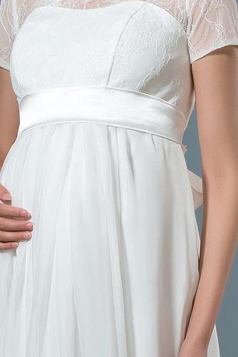 Vestido de novia Camiseta Pura espalda Tallas grandes Joya Manga corta - Página 5