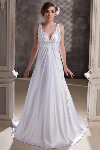Vestido de novia Satén Hasta el suelo Dobladillos Espalda Descubierta - Página 1