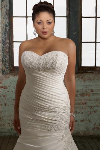 Vestido de novia Sin mangas Cordón Cola Capilla Escote Corazón Organza - Página 3