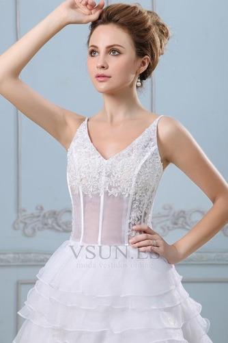 Vestido de novia Sin mangas Alto Bajo Escote de Tirantes Espaguetis - Página 5
