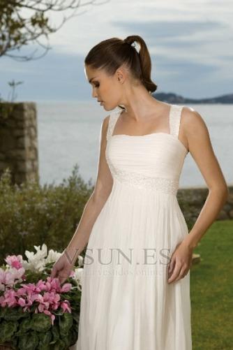 Vestido de novia Imperio Cintura Escote Cuadrado Verano Espalda medio descubierto - Página 3