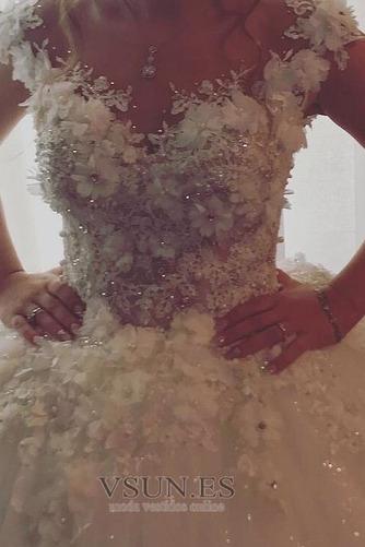 Vestido de novia Invierno Iglesia Botón Pura espalda Rosetón Acentuado - Página 2