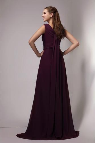 Vestido de dama de honor Blusa plisada Gasa Corte-A Espalda medio descubierto - Página 2