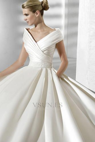 Vestido de novia Volantes Adorno Satén Iglesia Natural Tallas pequeñas - Página 3