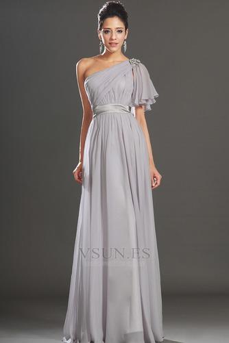Vestido de noche Elegante Verano Drapeado Hasta el suelo Corte-A Gasa - Página 5
