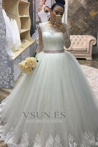 Vestido de novia Elegante Lazos Natural tul Cola Corte Joya - Página 1