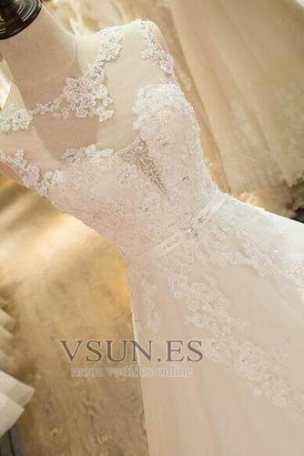 Vestido de novia Falta Iglesia Hasta el suelo Encaje Corte princesa - Página 5
