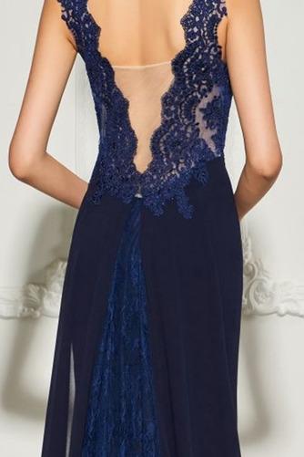 Vestido de noche Frontal Dividida Encaje Encaje Escote en V Natural - Página 5